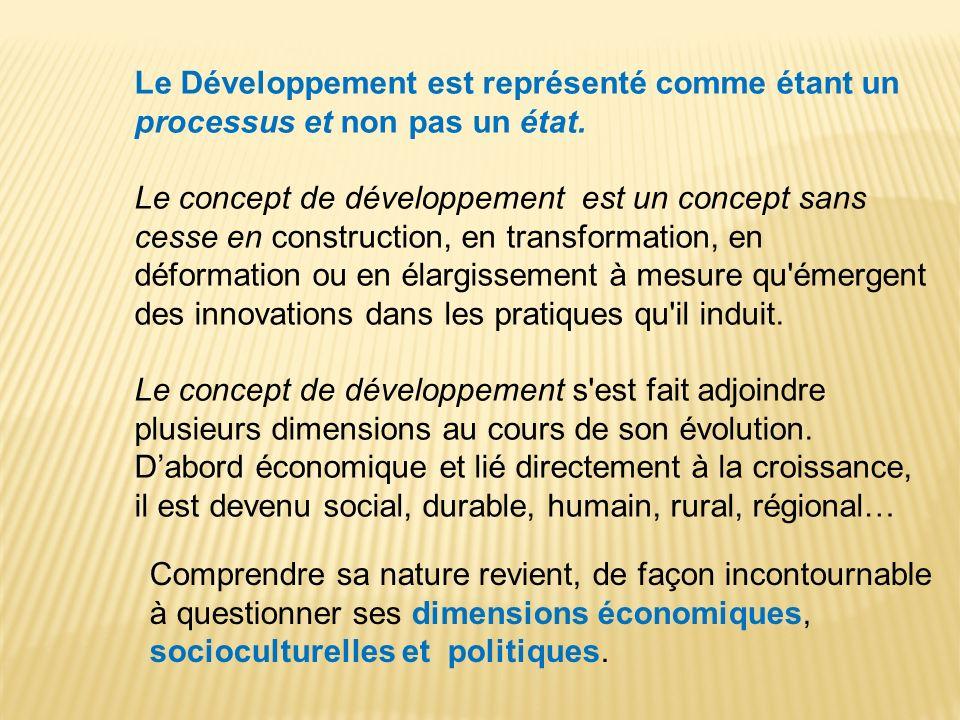 Le Développement est représenté comme étant un processus et non pas un état. Le concept de développement est un concept sans cesse en construction, en