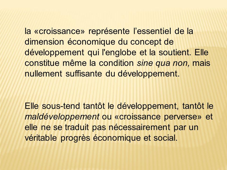 la «croissance» représente lessentiel de la dimension économique du concept de développement qui l'englobe et la soutient. Elle constitue même la cond
