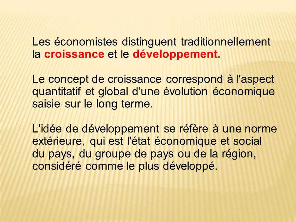 Les économistes distinguent traditionnellement la croissance et le développement. Le concept de croissance correspond à l'aspect quantitatif et global