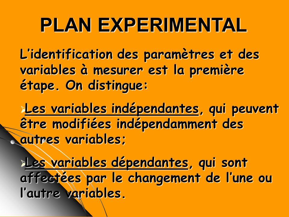 PLAN EXPERIMENTAL Lidentification des paramètres et des variables à mesurer est la première étape. On distingue: Les variables indépendantes, qui peuv