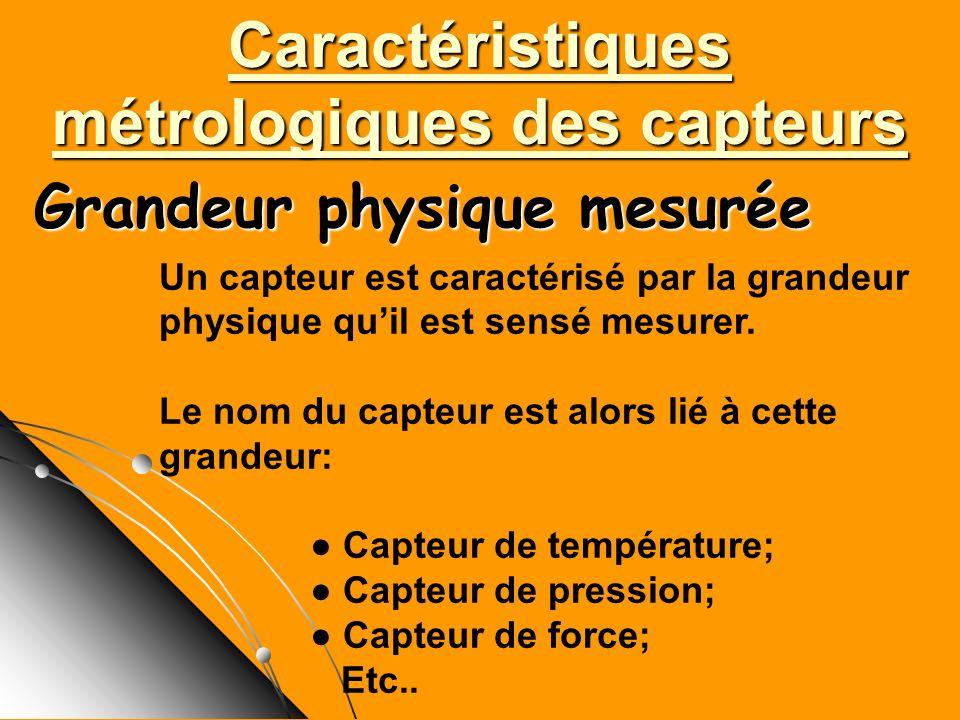 Caractéristiques métrologiques des capteurs Un capteur est caractérisé par la grandeur physique quil est sensé mesurer. Le nom du capteur est alors li