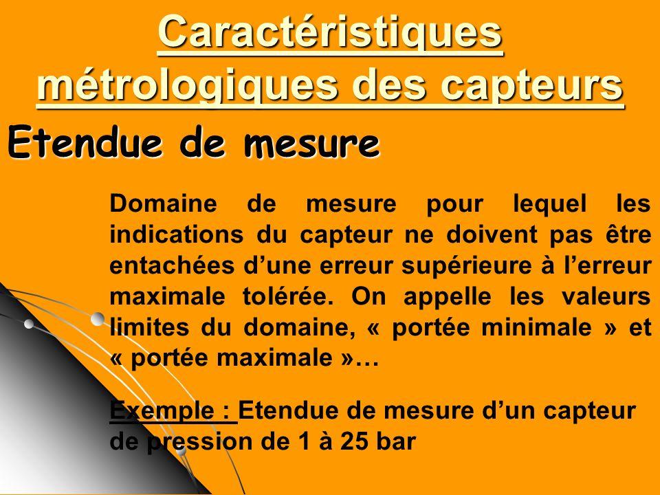 Caractéristiques métrologiques des capteurs Domaine de mesure pour lequel les indications du capteur ne doivent pas être entachées dune erreur supérie