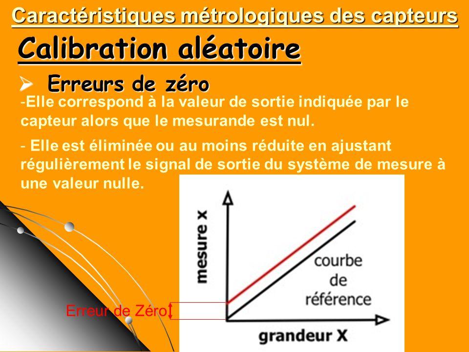 Calibration aléatoire Erreurs de zéro Erreurs de zéro Caractéristiques métrologiques des capteurs -Elle correspond à la valeur de sortie indiquée par
