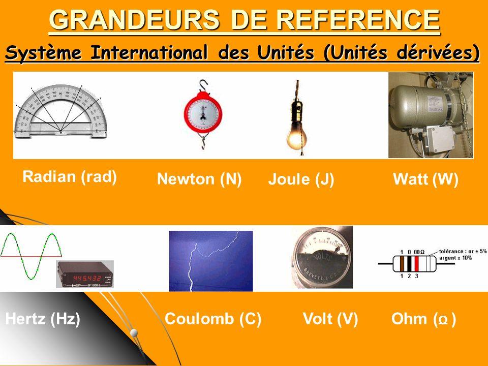 Système International des Unités (Unités dérivées) GRANDEURS DE REFERENCE Radian (rad) Newton (N) Watt (W) Hertz (Hz)Coulomb (C)Volt (V)Ohm ( Ω ) Joul