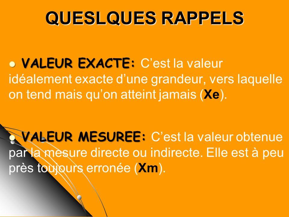 QUESLQUES RAPPELS VALEUR EXACTE: VALEUR EXACTE: Cest la valeur idéalement exacte dune grandeur, vers laquelle on tend mais quon atteint jamais (Xe). V