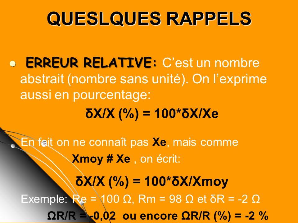 QUESLQUES RAPPELS ERREUR RELATIVE: ERREUR RELATIVE: Cest un nombre abstrait (nombre sans unité). On lexprime aussi en pourcentage: δX/X (%) = 100*δX/X