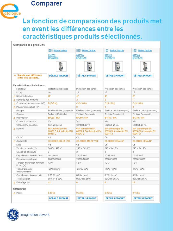 Comparer La fonction de comparaison des produits met en avant les différences entre les caractéristiques produits sélectionnés.