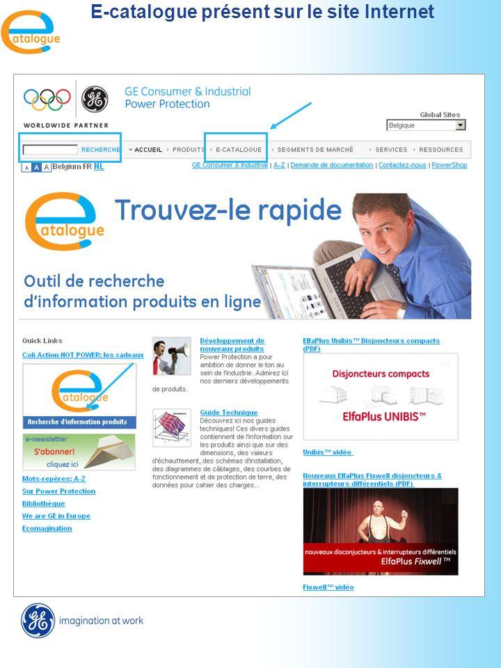 E-catalogue présent sur le site Internet