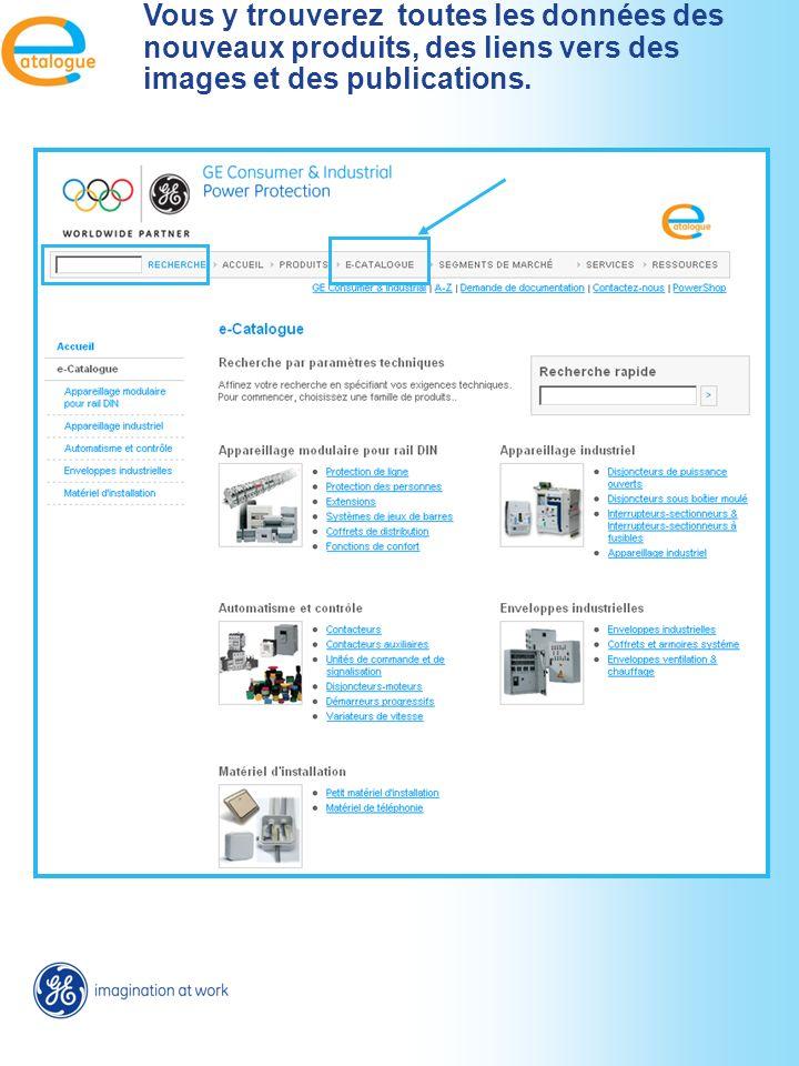 Accès vers le E-catalogue depuis la page produits. Lien direct vers la page adéquate du e-cat.
