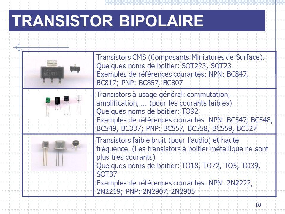 TRANSISTOR BIPOLAIRE Transistors CMS (Composants Miniatures de Surface). Quelques noms de boitier: SOT223, SOT23 Exemples de références courantes: NPN