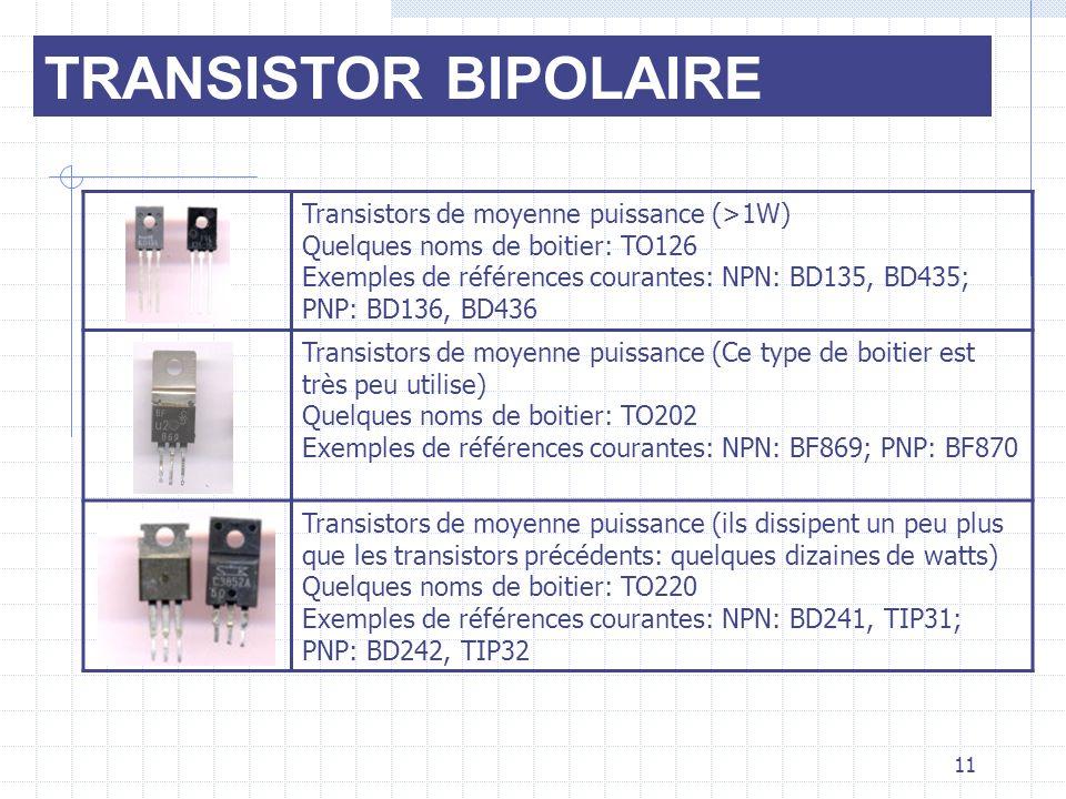 TRANSISTOR BIPOLAIRE Transistors de moyenne puissance (>1W) Quelques noms de boitier: TO126 Exemples de références courantes: NPN: BD135, BD435; PNP: