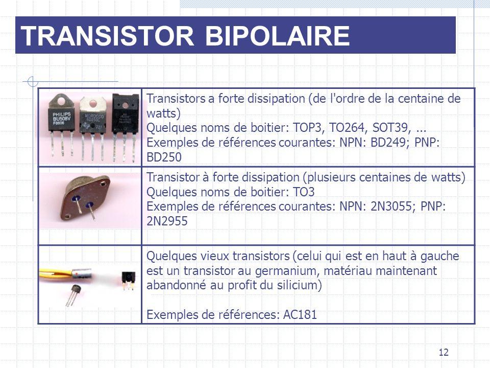TRANSISTOR BIPOLAIRE Transistors a forte dissipation (de l'ordre de la centaine de watts) Quelques noms de boitier: TOP3, TO264, SOT39,... Exemples de