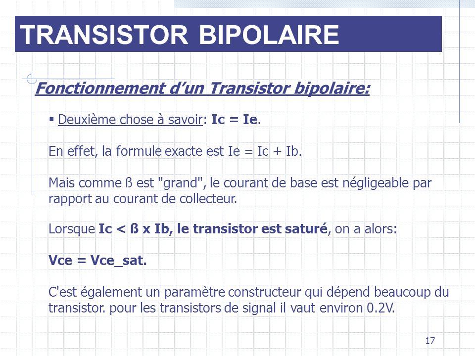 TRANSISTOR BIPOLAIRE Fonctionnement dun Transistor bipolaire: Deuxième chose à savoir: Ic = Ie. En effet, la formule exacte est Ie = Ic + Ib. Mais com