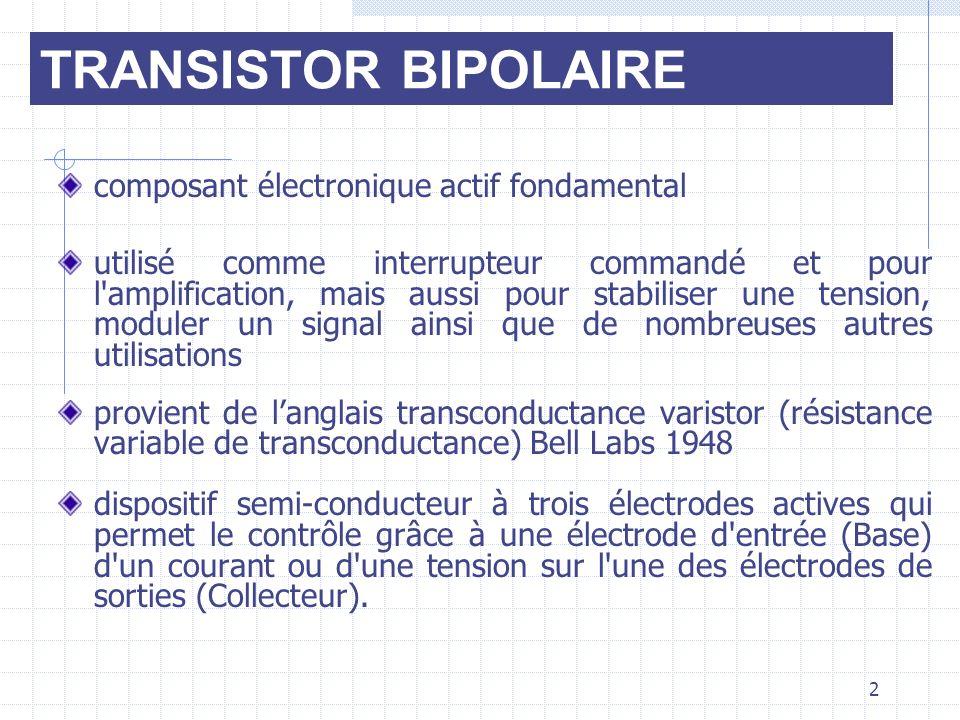 2 composant électronique actif fondamental utilisé comme interrupteur commandé et pour l'amplification, mais aussi pour stabiliser une tension, module