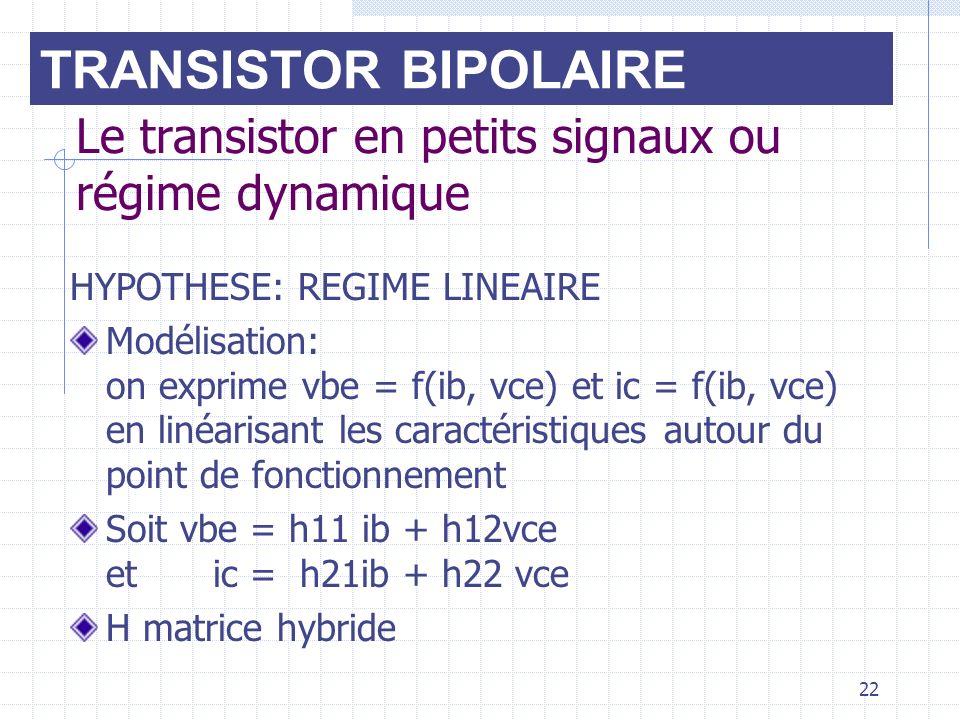 22 Le transistor en petits signaux ou régime dynamique HYPOTHESE: REGIME LINEAIRE Modélisation: on exprime vbe = f(ib, vce) et ic = f(ib, vce) en liné