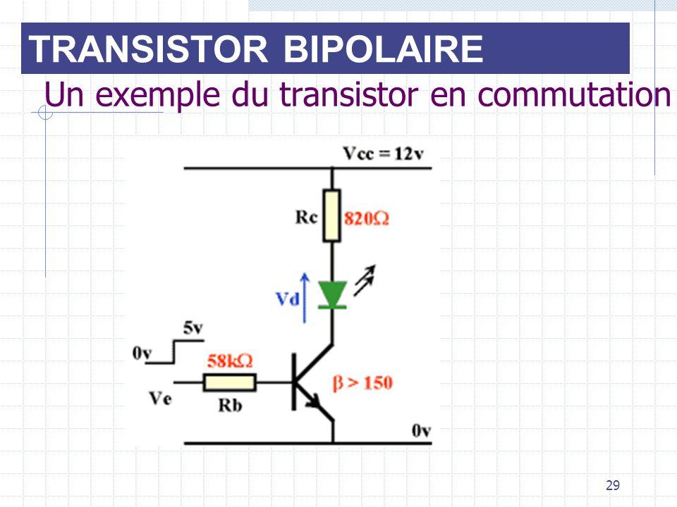 29 Un exemple du transistor en commutation TRANSISTOR BIPOLAIRE