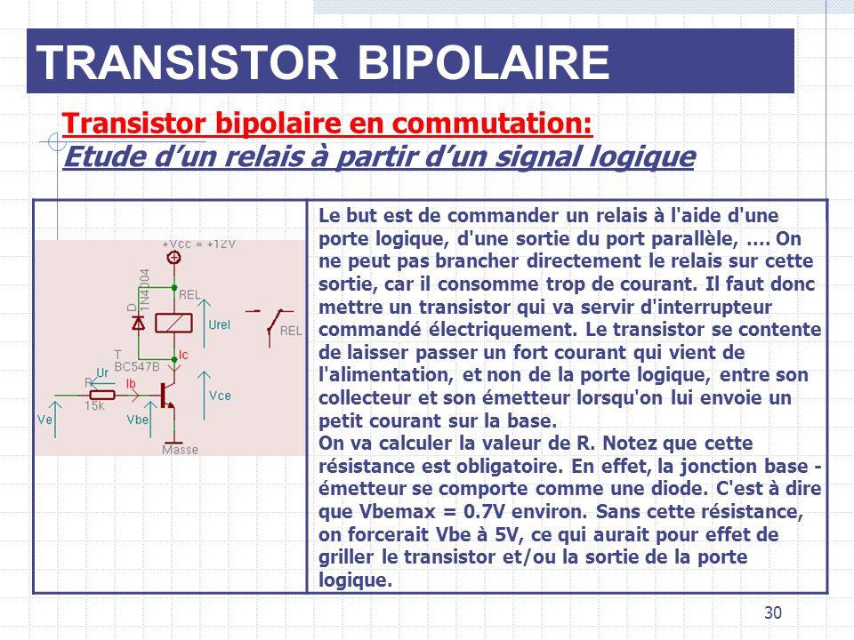 Transistor bipolaire en commutation: Etude dun relais à partir dun signal logique Le but est de commander un relais à l'aide d'une porte logique, d'un