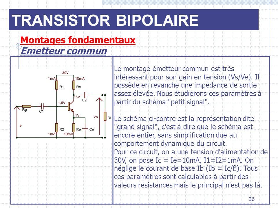 TRANSISTOR BIPOLAIRE Montages fondamentaux Emetteur commun 36 Le montage émetteur commun est très intéressant pour son gain en tension (Vs/Ve). Il pos