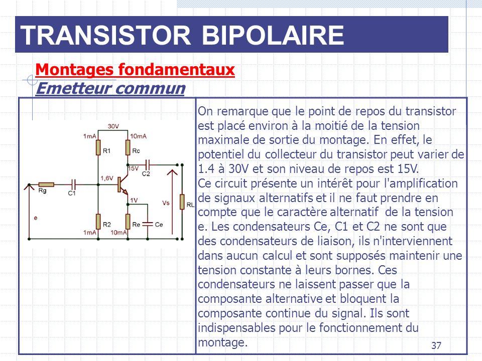 TRANSISTOR BIPOLAIRE Montages fondamentaux Emetteur commun 37 On remarque que le point de repos du transistor est placé environ à la moitié de la tens
