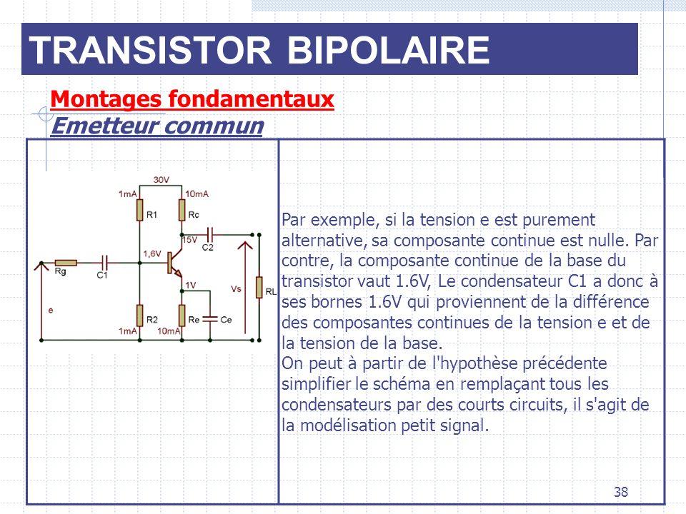 TRANSISTOR BIPOLAIRE Montages fondamentaux Emetteur commun 38 Par exemple, si la tension e est purement alternative, sa composante continue est nulle.