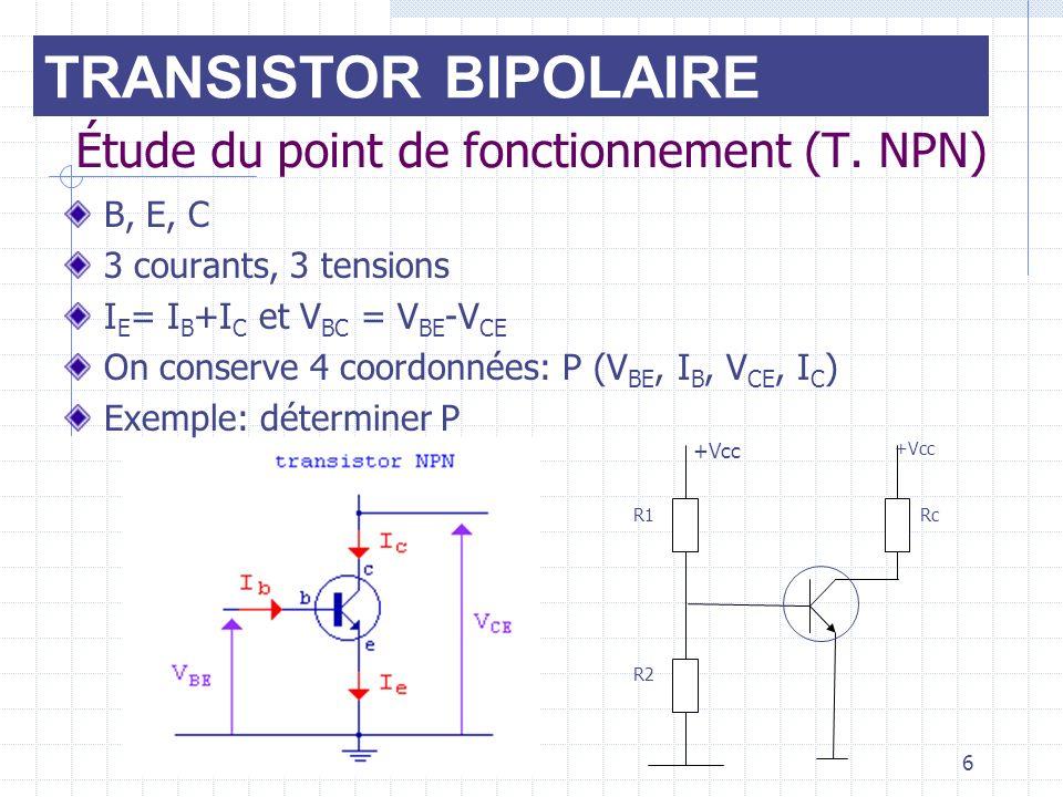 6 Étude du point de fonctionnement (T. NPN) B, E, C 3 courants, 3 tensions I E = I B +I C et V BC = V BE -V CE On conserve 4 coordonnées: P (V BE, I B