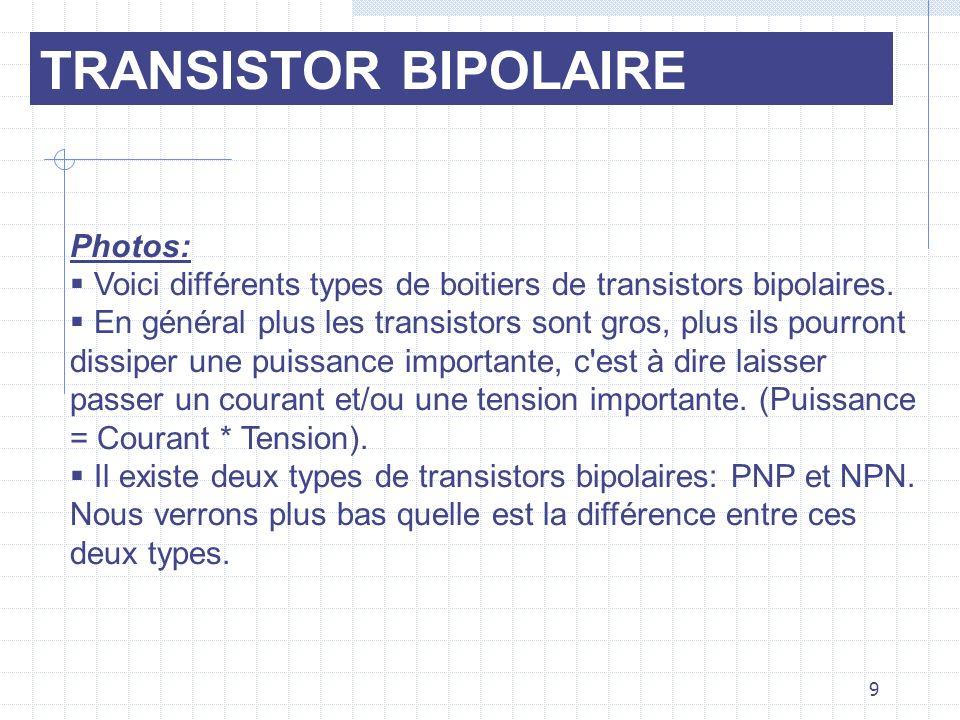 Photos: Voici différents types de boitiers de transistors bipolaires. En général plus les transistors sont gros, plus ils pourront dissiper une puissa