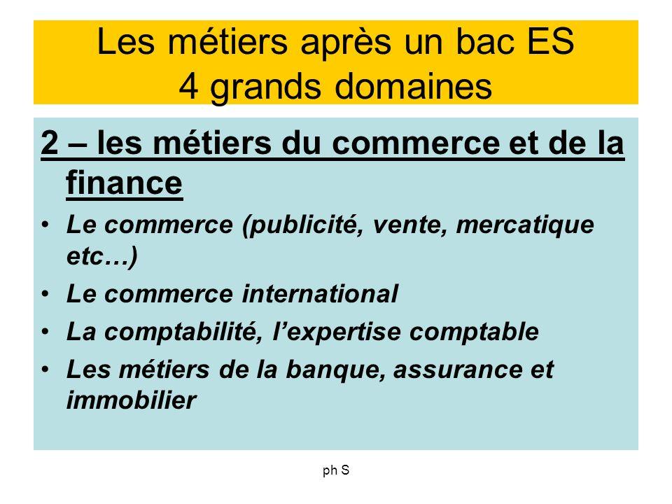 ph S Les métiers après un bac ES 4 grands domaines 2 – les métiers du commerce et de la finance Le commerce (publicité, vente, mercatique etc…) Le com