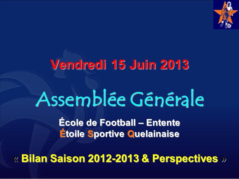 Vendredi 15 Juin 2013 Assemblée Générale École de Football – Entente Étoile Sportive Quelainaise « Bilan Saison 2012-2013 & Perspectives »