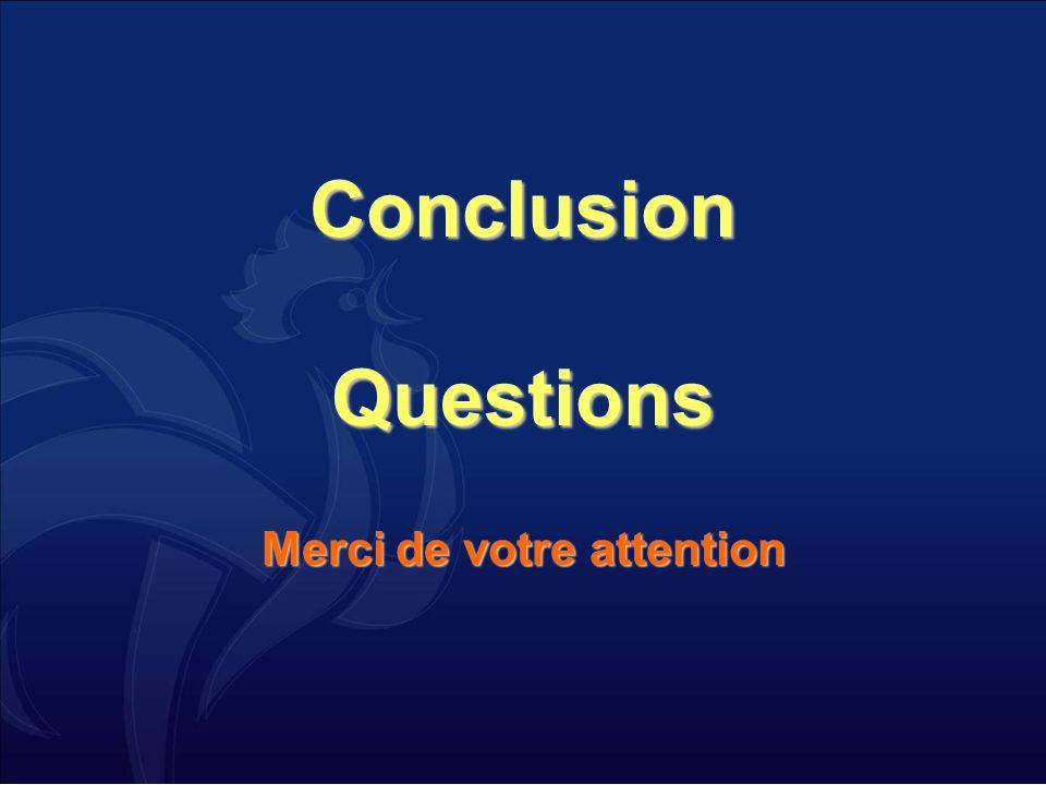 Conclusion Questions Merci de votre attention