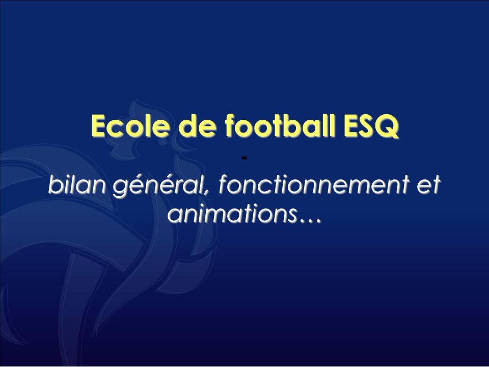 Ecole de football ESQ bilan général, fonctionnement et animations… Ecole de football ESQ - bilan général, fonctionnement et animations…