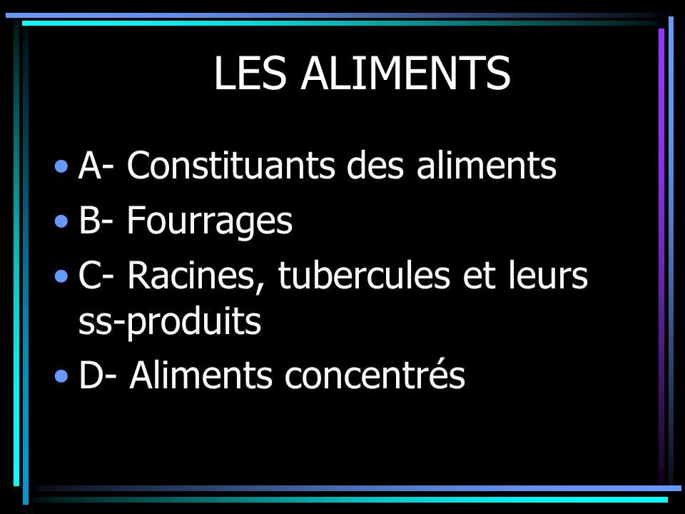 LES ALIMENTS A- Constituants des aliments B- Fourrages C- Racines, tubercules et leurs ss-produits D- Aliments concentrés