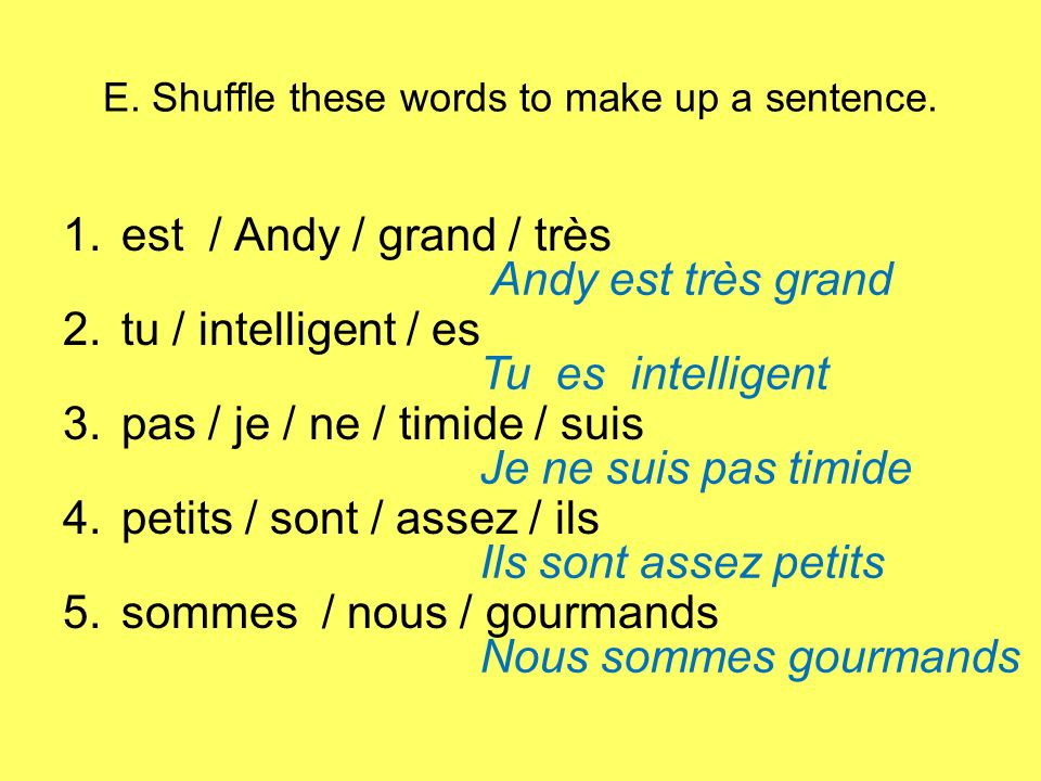 E. Shuffle these words to make up a sentence. 1.est / Andy / grand / très 2.tu / intelligent / es 3.pas / je / ne / timide / suis 4.petits / sont / as