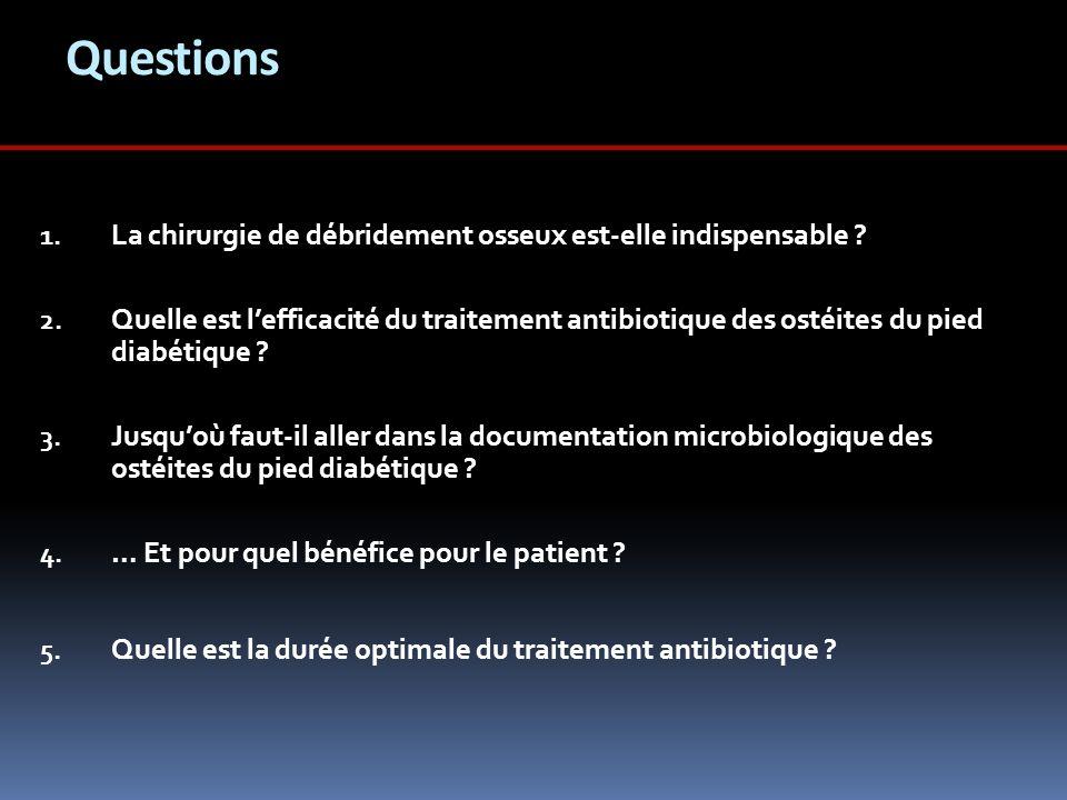 Questions 1. La chirurgie de débridement osseux est-elle indispensable ? 2. Quelle est lefficacité du traitement antibiotique des ostéites du pied dia
