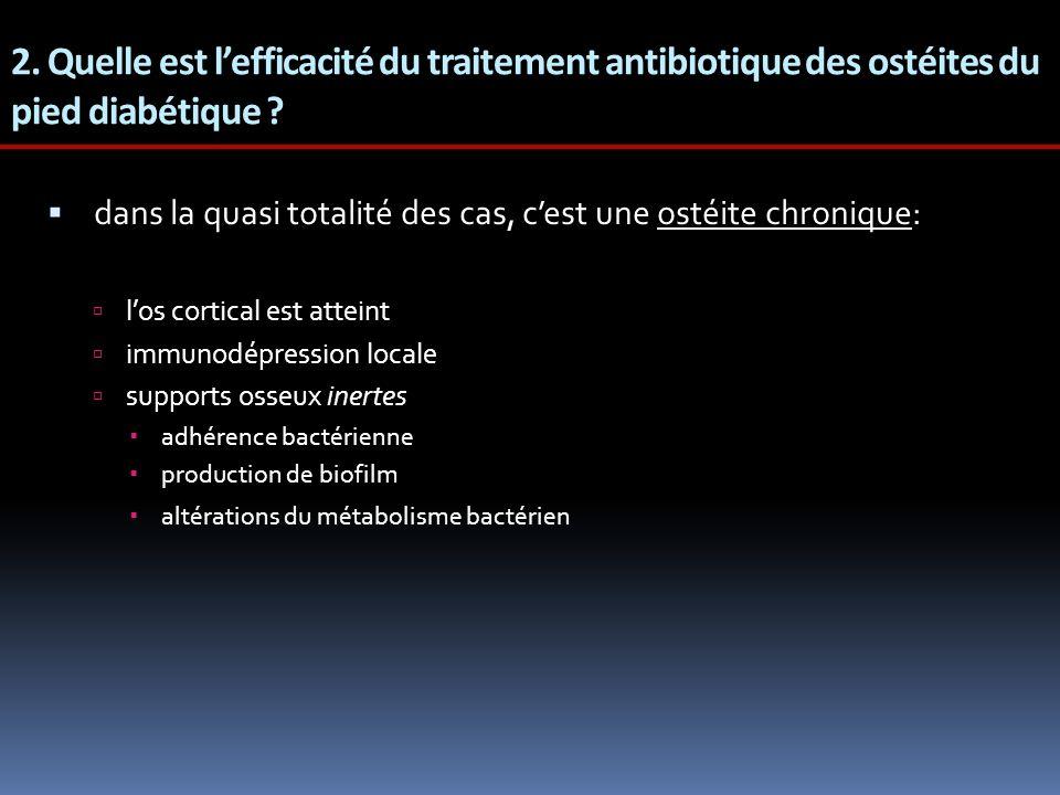 2. Quelle est lefficacité du traitement antibiotique des ostéites du pied diabétique ? dans la quasi totalité des cas, cest une ostéite chronique: los