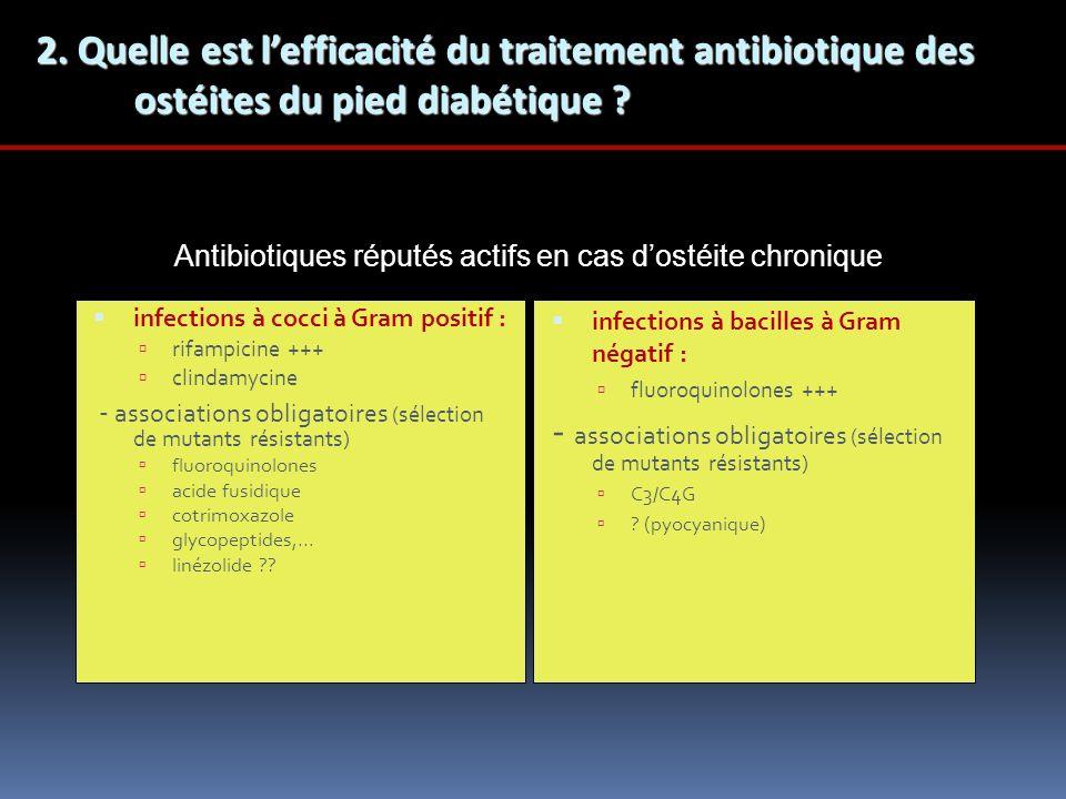 infections à cocci à Gram positif : rifampicine +++ clindamycine - associations obligatoires (sélection de mutants résistants) fluoroquinolones acide