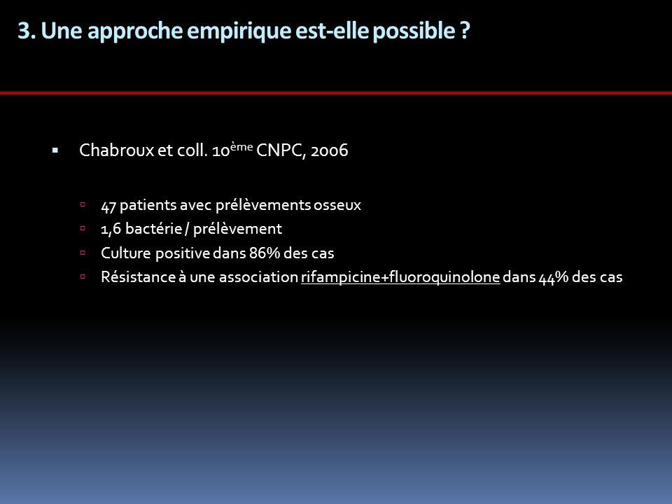 3. Une approche empirique est-elle possible ? Chabroux et coll. 10 ème CNPC, 2006 47 patients avec prélèvements osseux 1,6 bactérie / prélèvement Cult