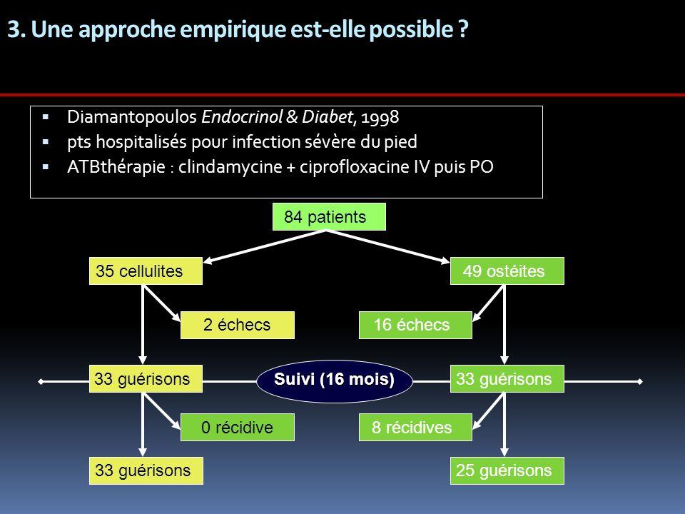 3. Une approche empirique est-elle possible ? Diamantopoulos Endocrinol & Diabet, 1998 pts hospitalisés pour infection sévère du pied ATBthérapie : cl