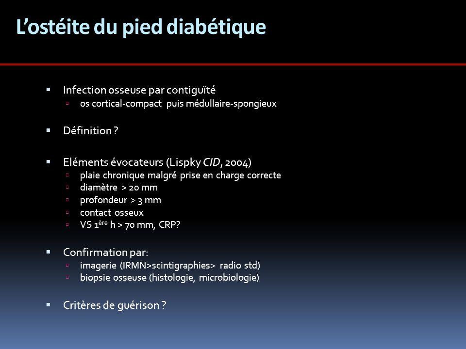 Valeur du contact osseux % pré- test SensibiltéSpécificitéVPPVPN Grayson 199566 858956 Shone 200624--5385 Lavery 20071287915798 En présence de signes dinfection: - PTB test +ostéite +++ - PTB test -ostéite non exclue En labsence de signes dinfection: - PTB test +ostéite .