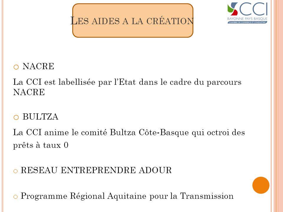 L ES AIDES A LA CRÉATION o NACRE La CCI est labellisée par lEtat dans le cadre du parcours NACRE o BULTZA La CCI anime le comité Bultza Côte-Basque qu