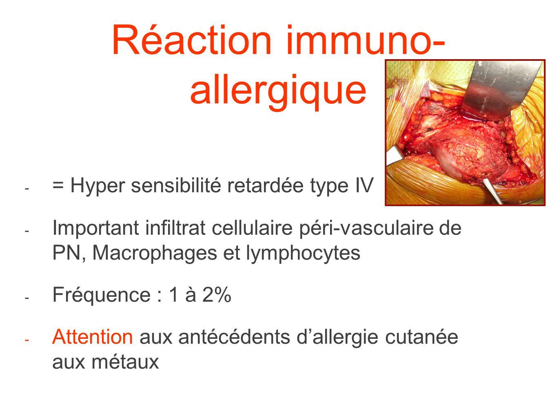 Réaction immuno- allergique - = Hyper sensibilité retardée type IV - Important infiltrat cellulaire péri-vasculaire de PN, Macrophages et lymphocytes