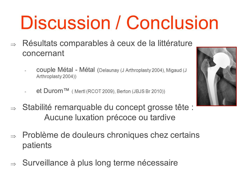 Discussion / Conclusion Résultats comparables à ceux de la littérature concernant - couple Métal - Métal ( Delaunay (J Arthroplasty 2004), Migaud (J A
