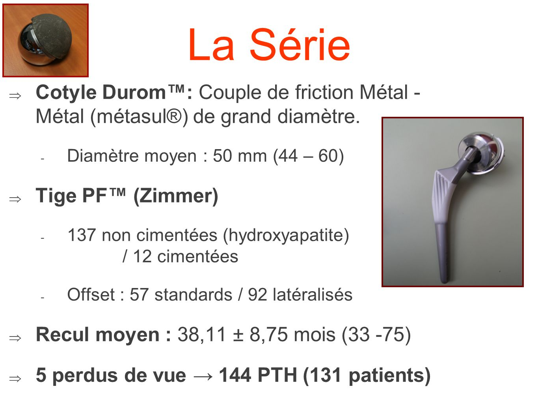 La Série Cotyle Durom: Couple de friction Métal - Métal (métasul®) de grand diamètre. - Diamètre moyen : 50 mm (44 – 60) Tige PF (Zimmer) - 137 non ci
