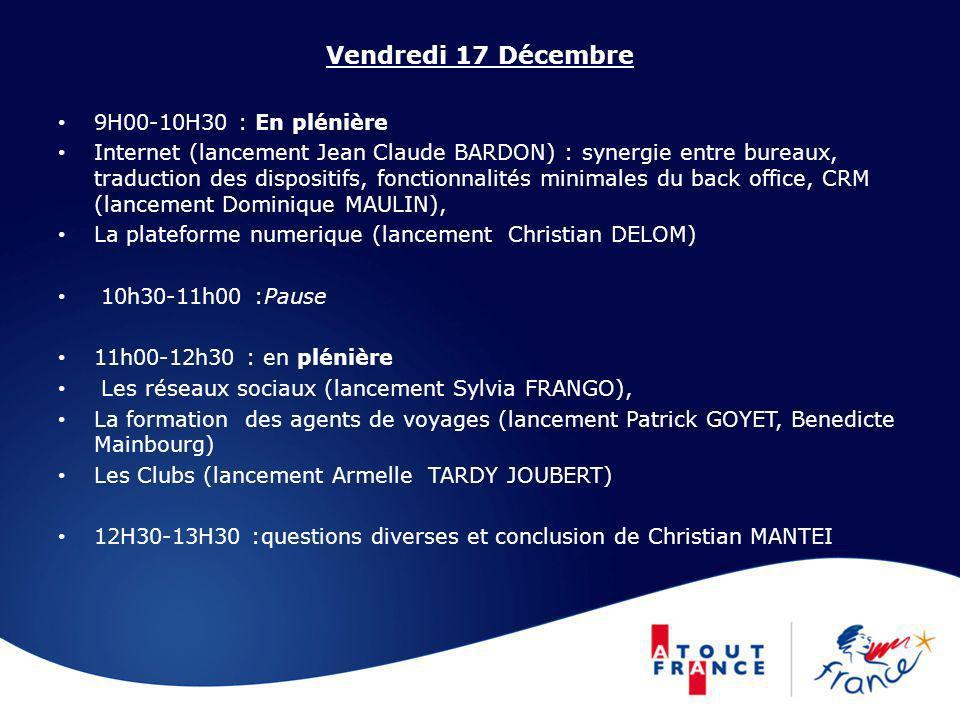 Vendredi 17 Décembre 9H00-10H30 : En plénière Internet (lancement Jean Claude BARDON) : synergie entre bureaux, traduction des dispositifs, fonctionna