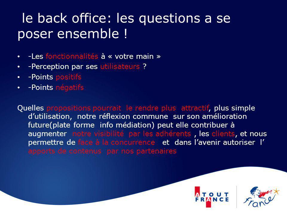 le back office: les questions a se poser ensemble ! -Les fonctionnalités à « votre main » -Perception par ses utilisateurs ? -Points positifs -Points