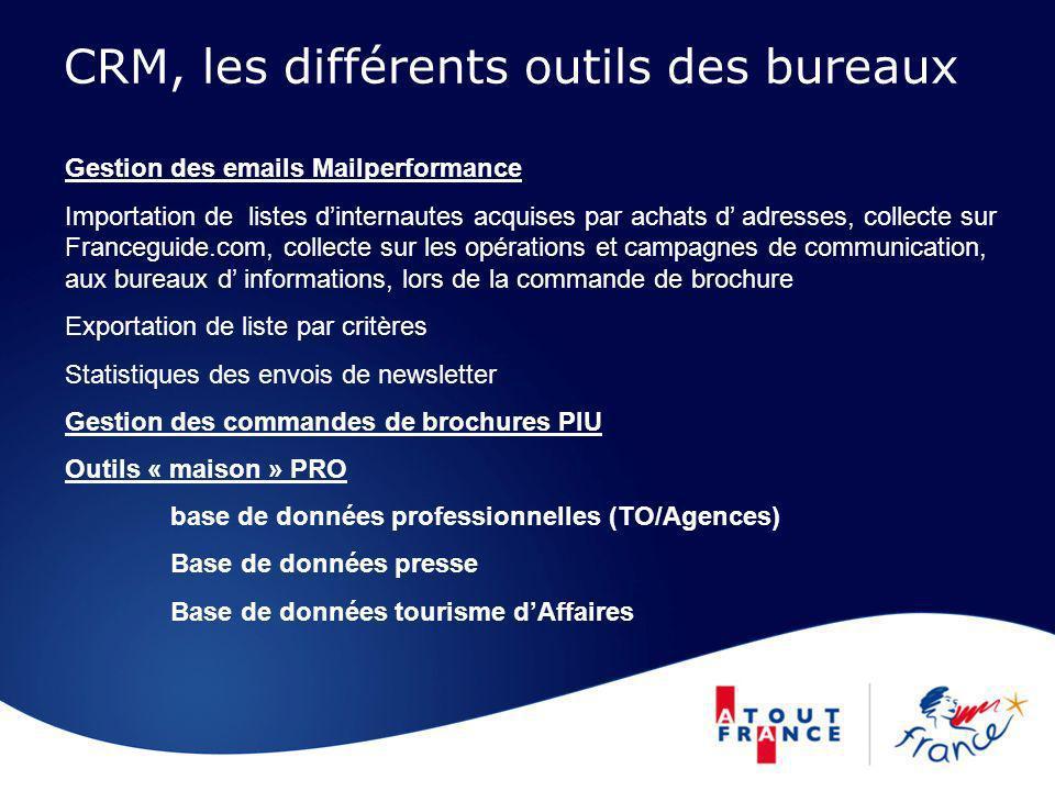 CRM, les différents outils des bureaux Gestion des emails Mailperformance Importation de listes dinternautes acquises par achats d adresses, collecte