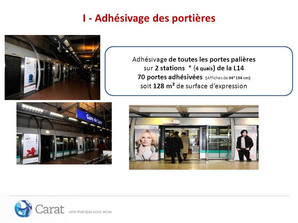 Adhésivage de toutes les portes palières sur 2 stations * ( 4 quais ) de la L14 70 portes adhésivées (Affiches de 94*194 cm) soit 128 m² de surface de
