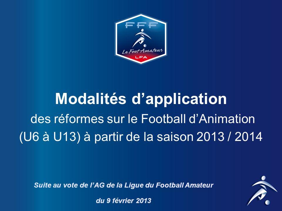 DISSOCIATION DES U6-U7 ET U8-U9 Actuellement : Même pratique pour 4 années dâge Propositions : - Football à 3, 4 ou 5 pour les U6-U7 (+ tolérance 2 U8) - Football à 5 pour les U8-U9 (3 U7 autorisés avec Autorisation Médicale) Argumentaire : Limiter les différences et adapter les contenus aux capacités des enfants A.G.