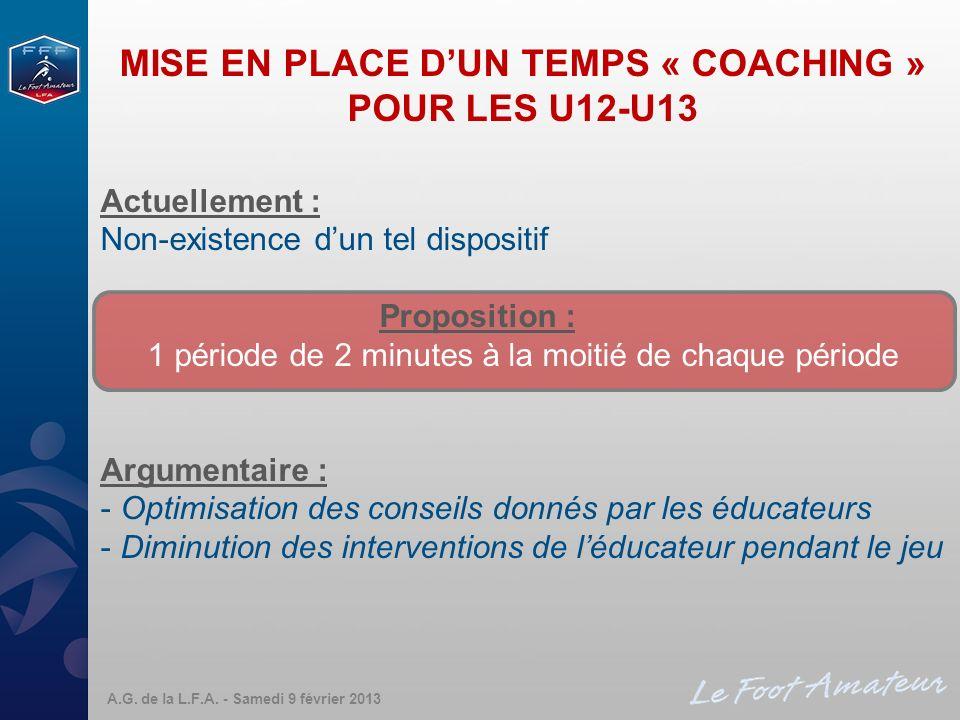 MISE EN PLACE DUN TEMPS « COACHING » POUR LES U12-U13 Actuellement : Non-existence dun tel dispositif Proposition : 1 période de 2 minutes à la moitié