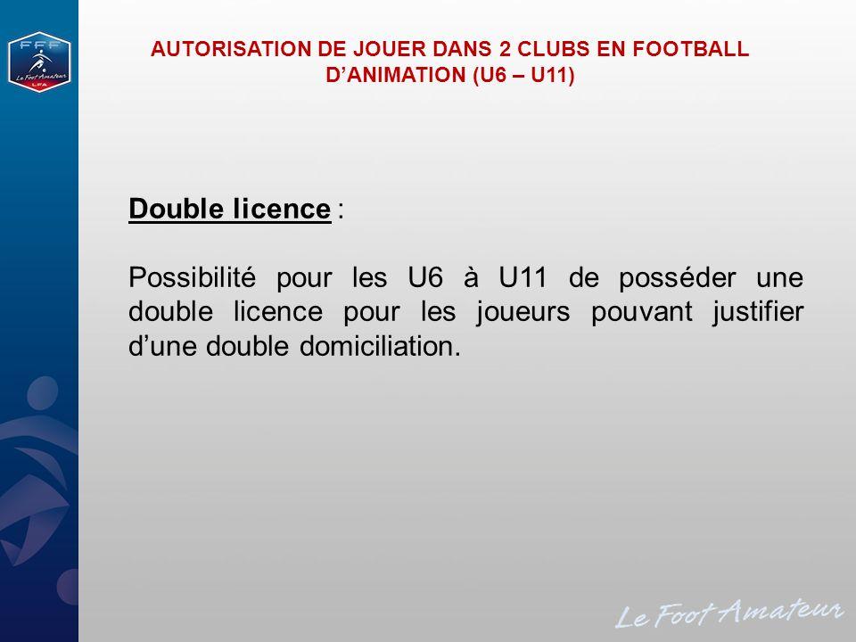 Double licence : Possibilité pour les U6 à U11 de posséder une double licence pour les joueurs pouvant justifier dune double domiciliation. AUTORISATI
