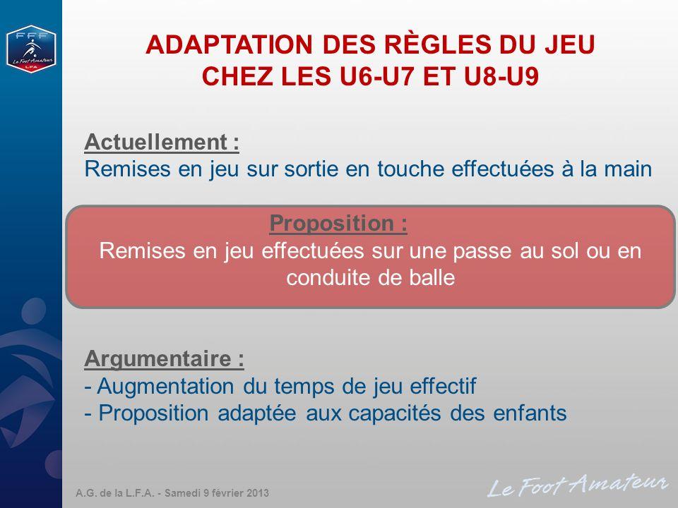 ADAPTATION DES RÈGLES DU JEU CHEZ LES U6-U7 ET U8-U9 Actuellement : Remises en jeu sur sortie en touche effectuées à la main Proposition : Remises en